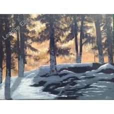 Winter Sunset, Original Acrylic Painting